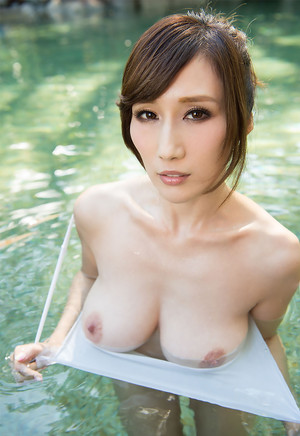 Julia Kyoka is an asian beauty having a nice poolside romp with her big boobs out