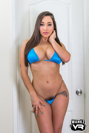 From blue to grey, Karlee Grey looks amazing in a blue string bikini